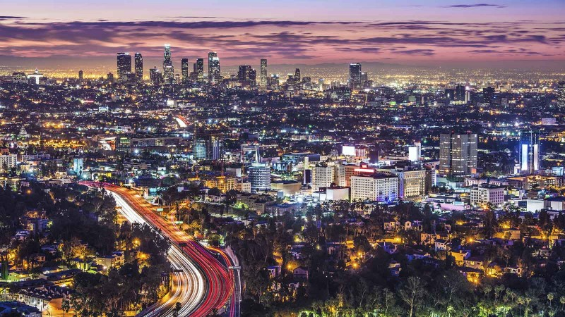 Los Angeles lit up at night