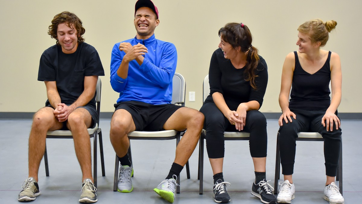 Image of MFA acting students share a laugh during a medical clowning workshop.