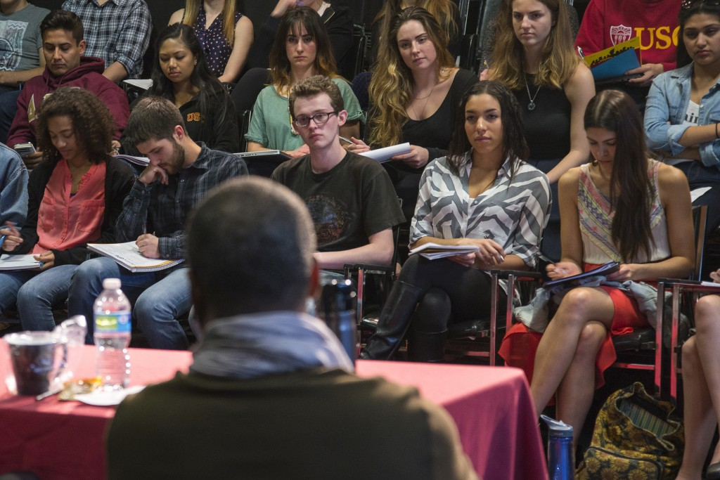 Image of students listening to performing arts panel.