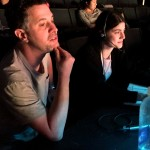Photo: Director Jeff Maynard, left, sits at the tech table with Stage Manager Kelly Merritt.