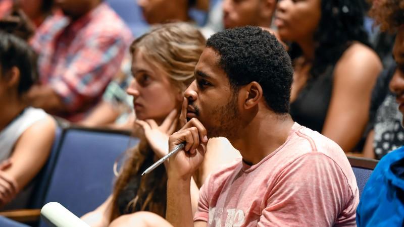 Students listen to Danny Strong speak at Spotlight@SDA