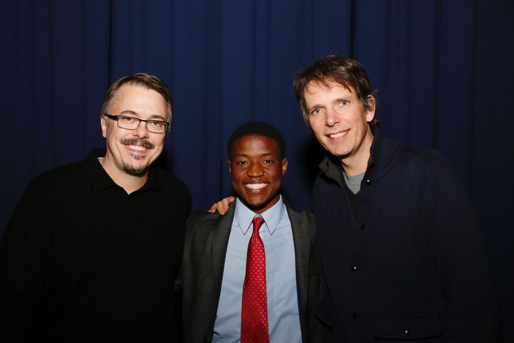 (l to r) Vince Gilligan, USC Program Board's Michael Iluma and School of Dramatic Arts Interim Dean David Bridel (Photo by Ryan Miller/Capture Imaging)