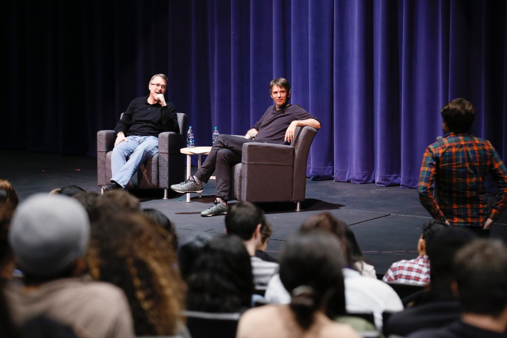 Vince Gilligan (l) answers student questions in a Q&A moderated by Interim Dean David Bridel (r). (Photo by Ryan Miller/Capture Imaging)