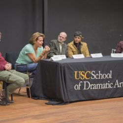 Alexandra Billings speaking on panel discussing the transparency of Hollywood
