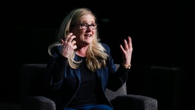 Nancy Cartwright speaking at USC