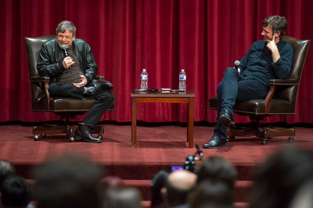 Mark Hamill sits down with Dean David Bridel for the Spotlight@SDA series in spring 2018. (USC Photo/Gus Ruelas)