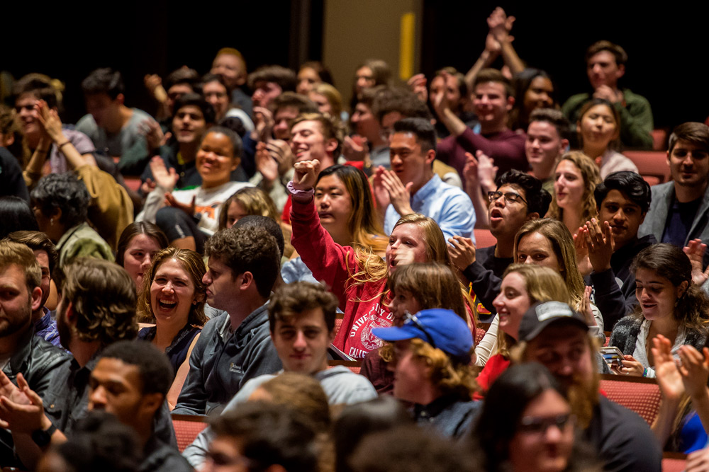 Audience of dramatic arts and cinematic arts students at the Norris Cinema Theatre. (USC Photo/Gus Ruelas)