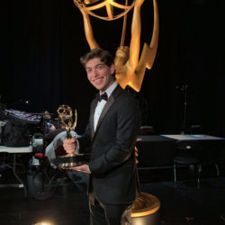 Student Evan Macedo at the Emmy Awards