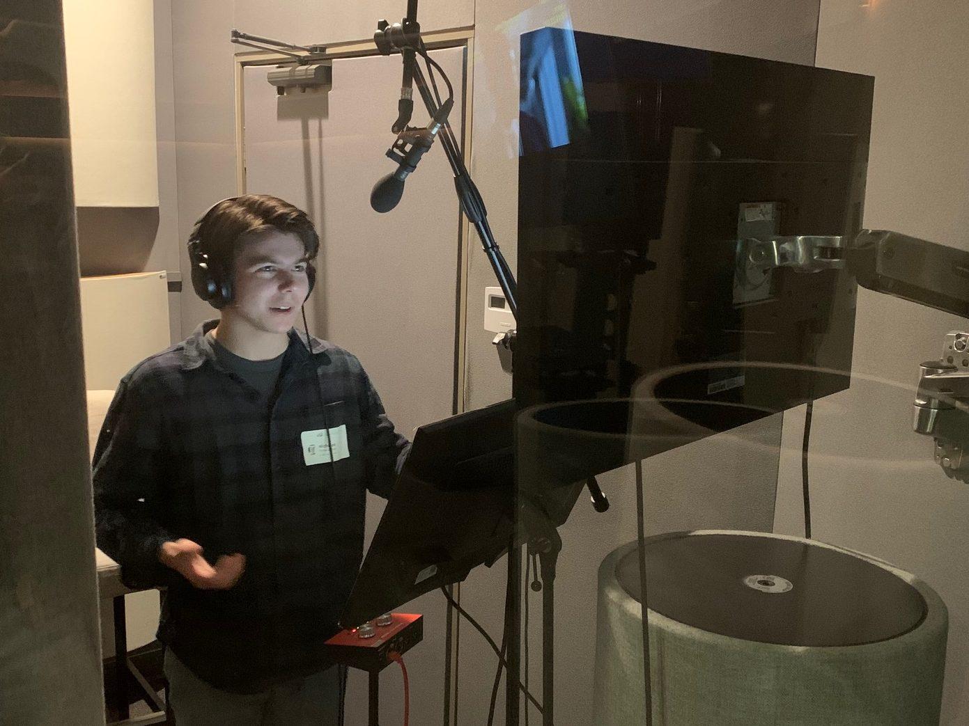 SDA student Nick Petroccione BA '20 recording