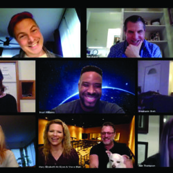 Screenshot of Zoom call with voice actors and directors