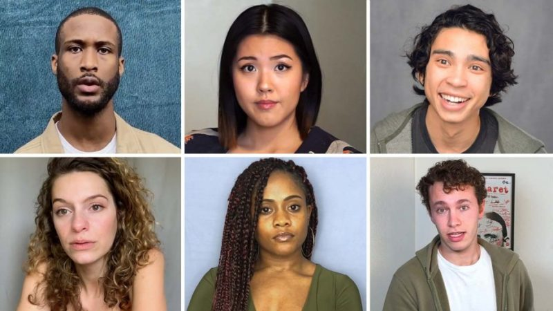 Images from USC's MFA and BFA program online showcase in 2020. Clockwise from left: Brent Grimes, Chelsea Sik, Matt Gomez Hidaka, Benjamin Hirschhorn, Deja Thompson, Abigail Coryell