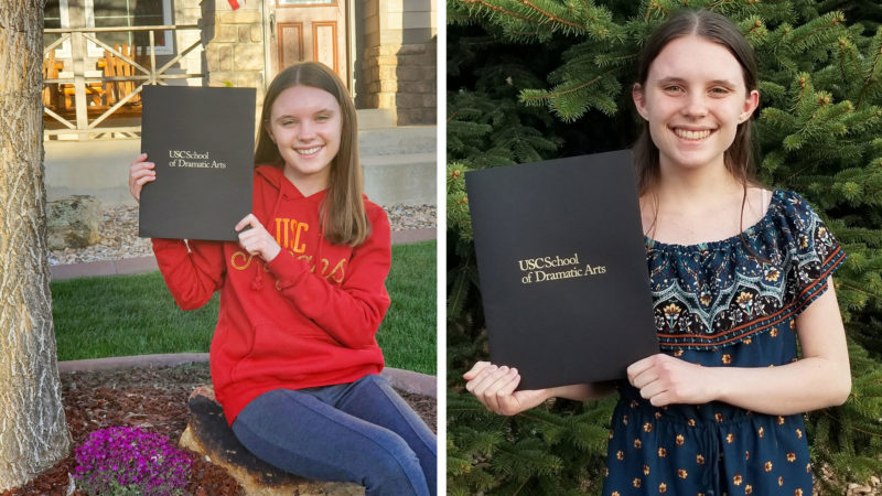 Ashley Somers, left, and Aspen Somers show off their acceptances